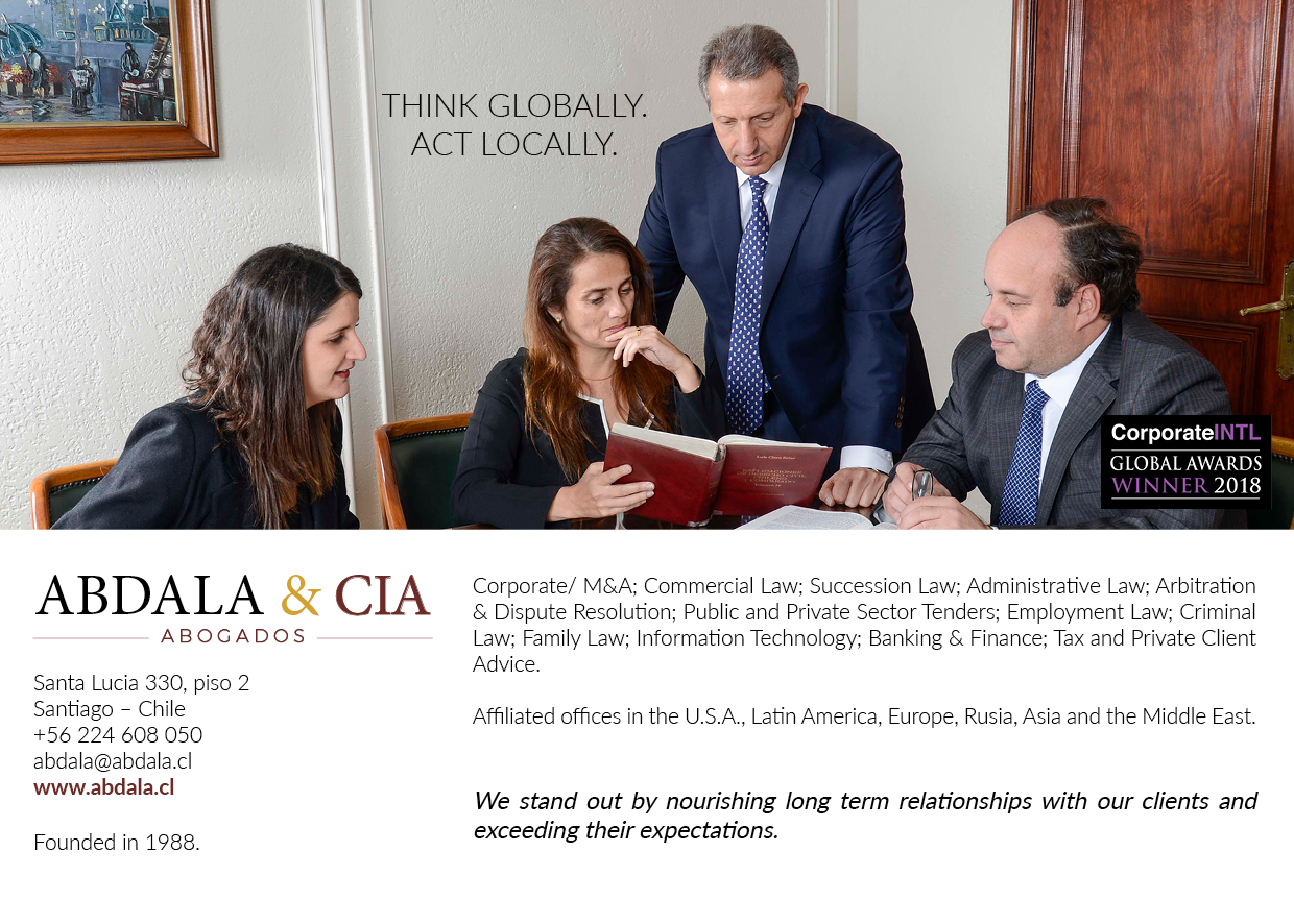 27 Apr Abdala Cia Has Been Recognized As The Chilean Law Firm Of Year In Corporate Governance By International Publication INTL